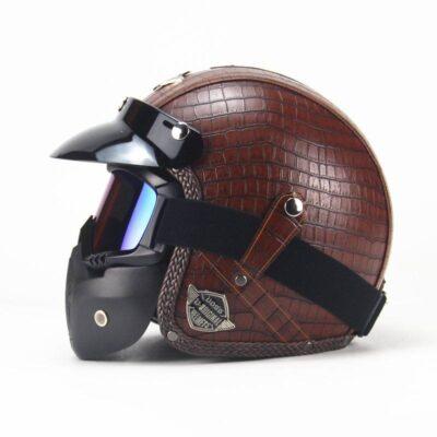 Vintage Leather MotorBike Open Helmet