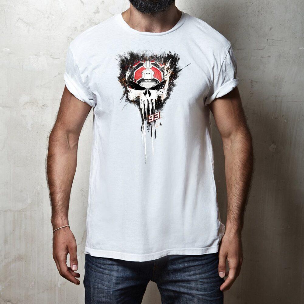 T-shirt Mark Marquez Punisher White